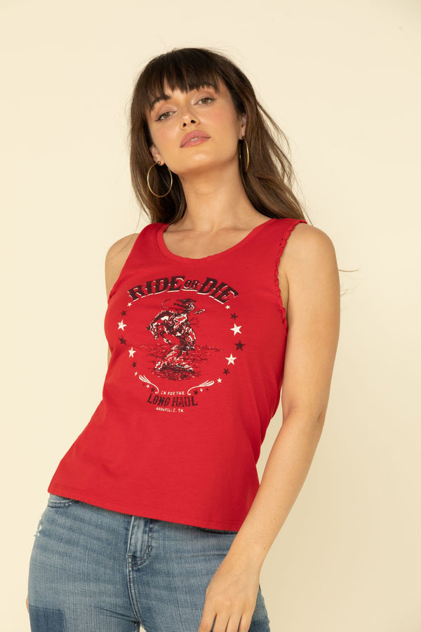 Ride or Die Twisted Tank Top - Red