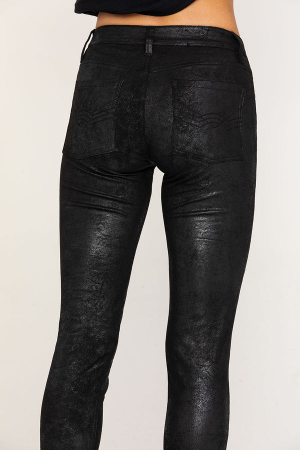 Rock N Roll Faux Leather Jean - Black