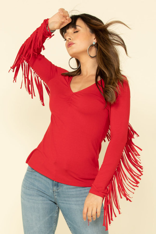 Free Flying Fringe Top - Red