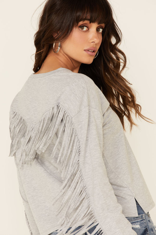 Fringe Sweatshirt - Grey