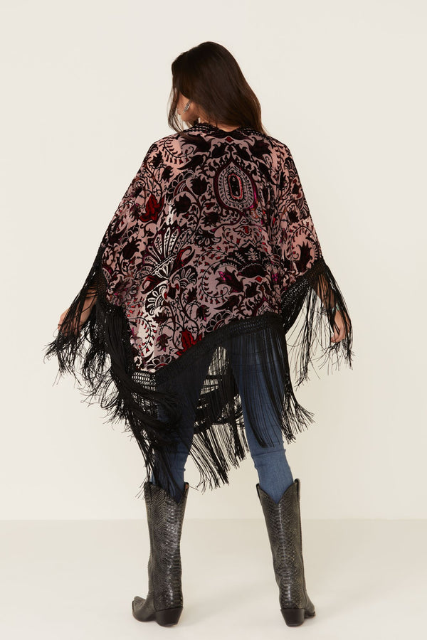 X Long Fringe Shawl - Purple