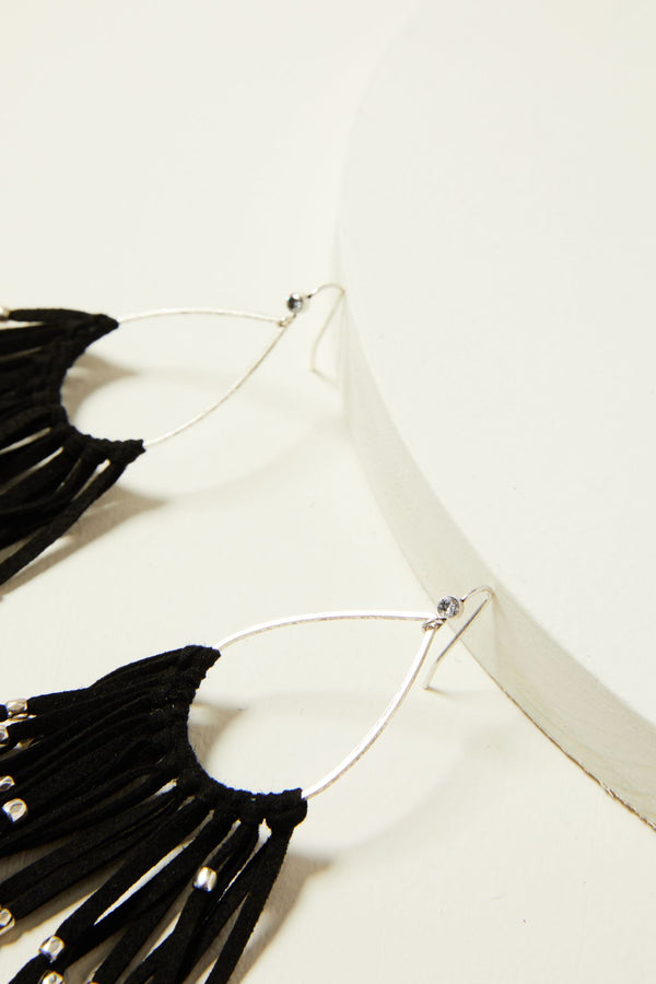 Black & Love Drop Fringe Earrings - Black