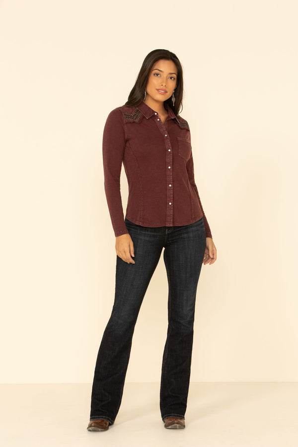 Snappy Western Button Top - Burgundy