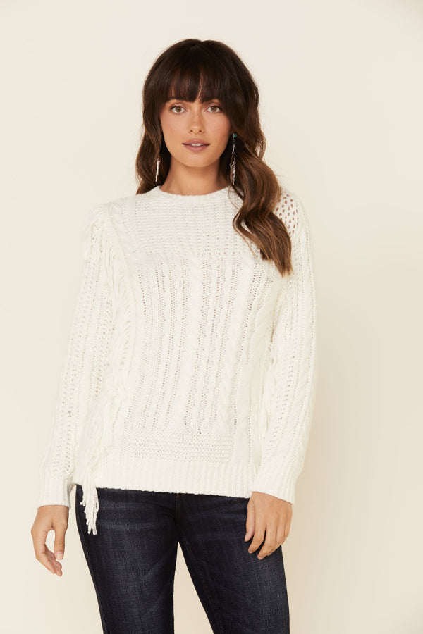 Fringe Crew Pullover Sweater - Ivory