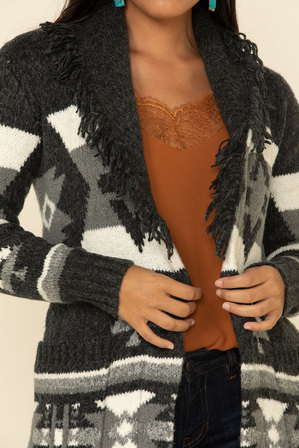 Aztec Adventure Cardigan Sweater - Black