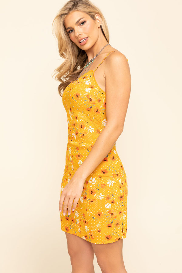 Sun-Tea Floral Slip Dress - Yellow