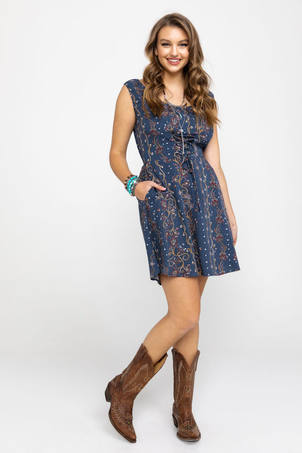 Downtown Western Corset Dress - Navy