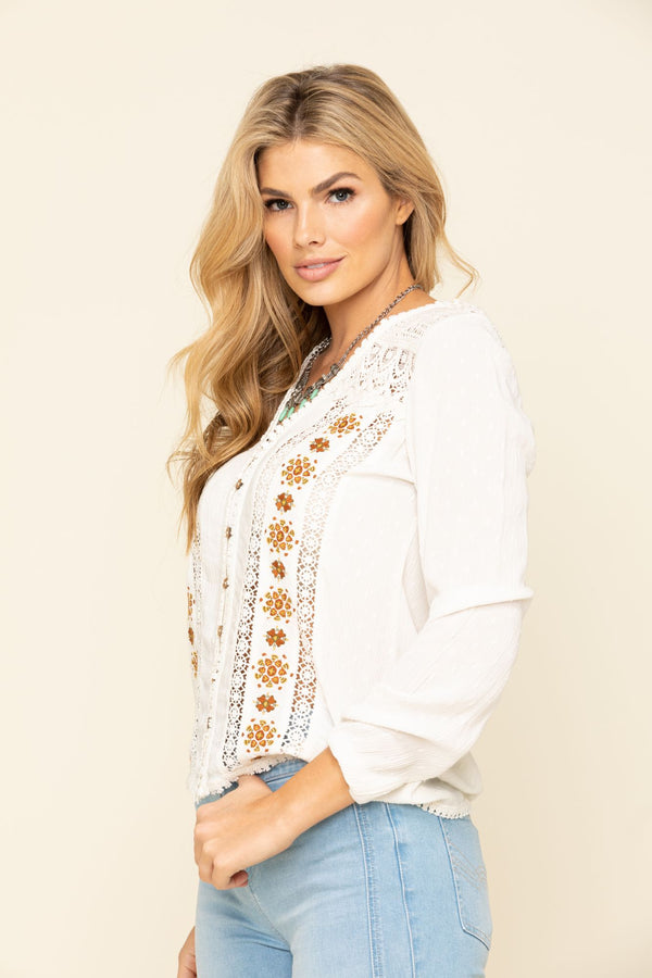 Wildwood Lace Embroidered Long Sleeve Top - Natural