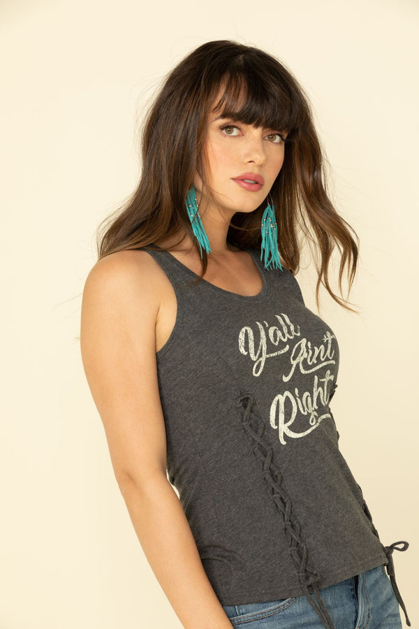 Y'all Ain't Right Lace Up Front Tank Top - Charcoal
