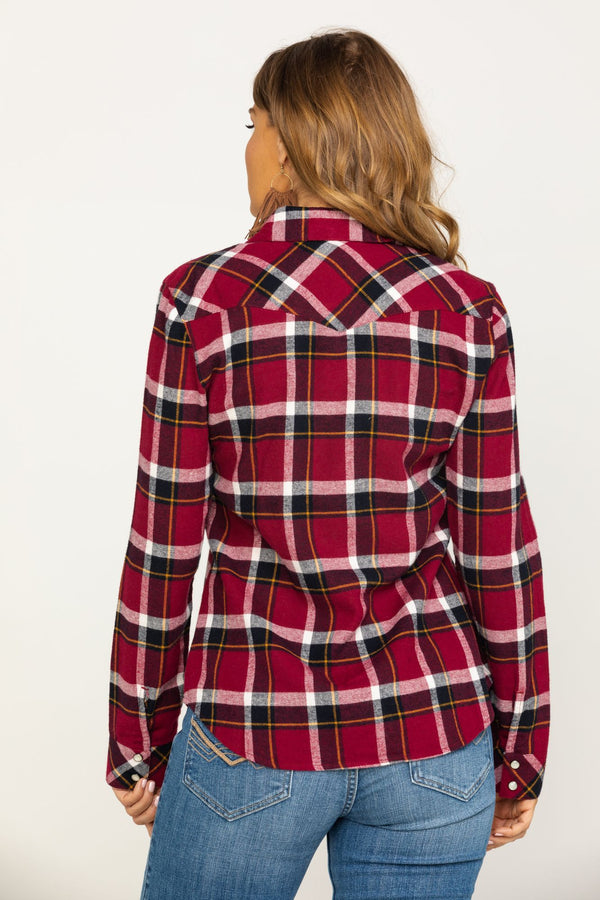 Stay Awhile Wine Flannel Shirt - Wine