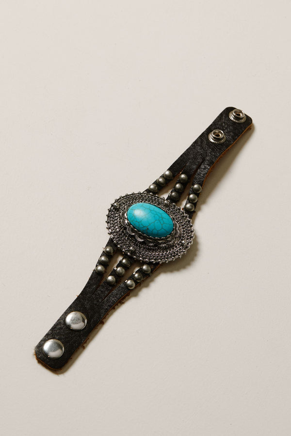 Oh My Turquoise Leather Bracelet - Black