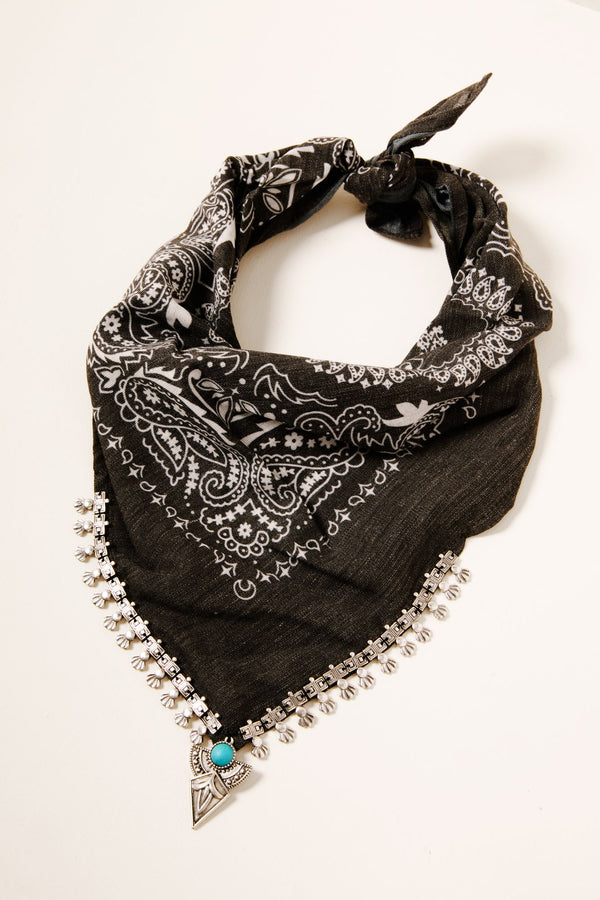 Cowgirl Bandit Scarf Necklace - Black
