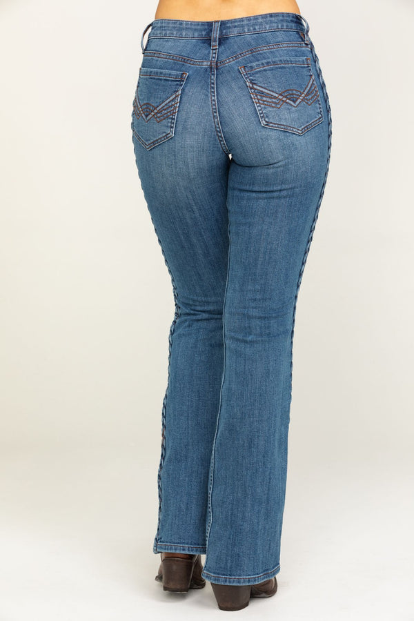 Rebel Bluegrass Medium Wash Bootcut Jeans - Blue
