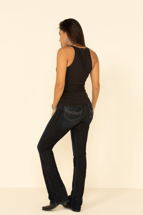 Super Highrise Roper Outlaw Bootcut Jeans - Dark Blue