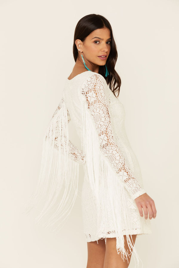 Thunder Road Fringe Crochet Dress - Ivory