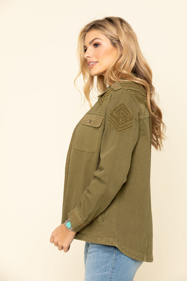 Military Embroidered Jacket - Olive
