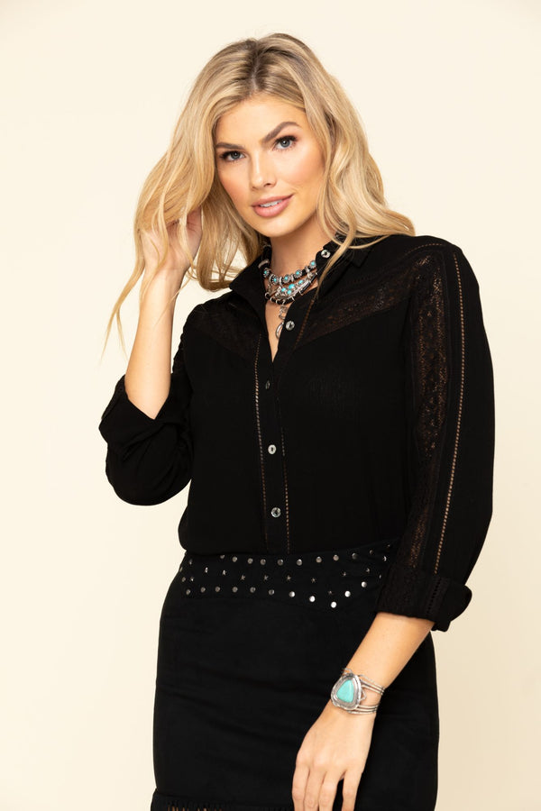 Breezy Button Front Western Top - Black