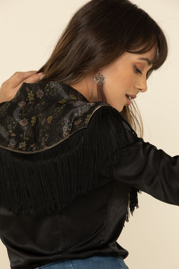 Floral Print Mixed Long Sleeve Western Fringe Top - Black