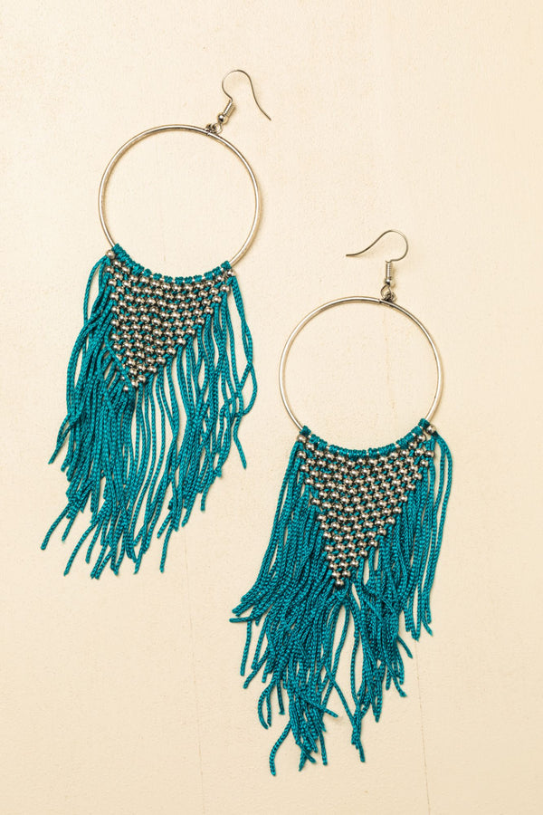 The One In Turquoise Drop Fringe Earrings - Turquoise