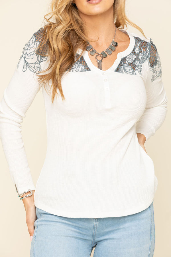 Lace Henley Long Sleeve Top - Cream