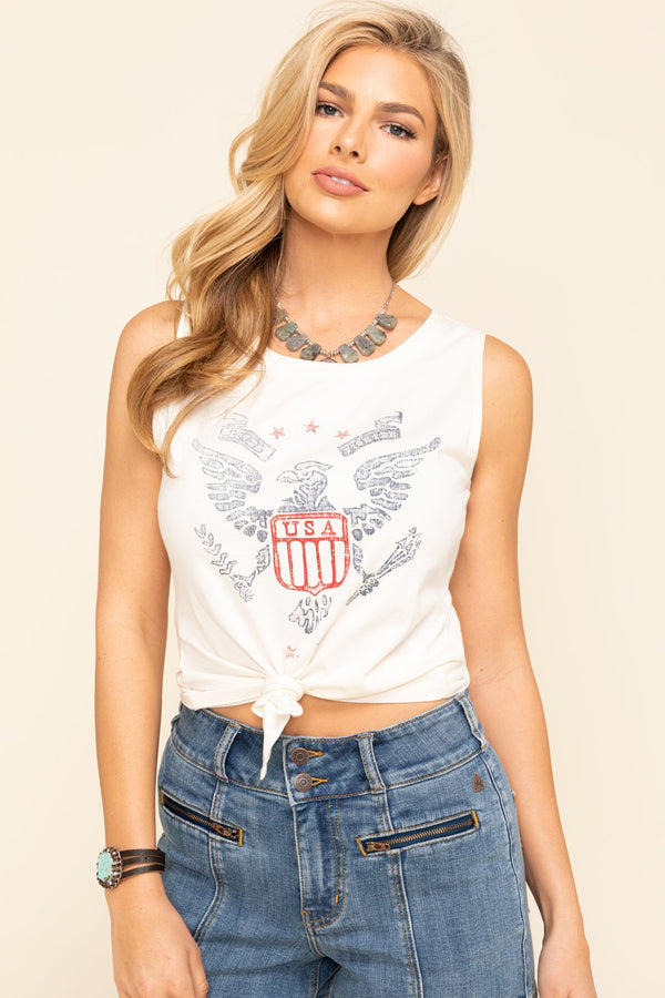 USA Eagle Tie Front Tank Top - Natural