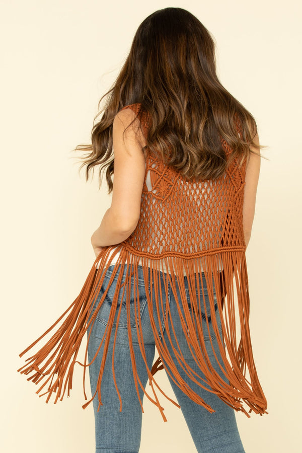 Country Macrame Vest - Brown