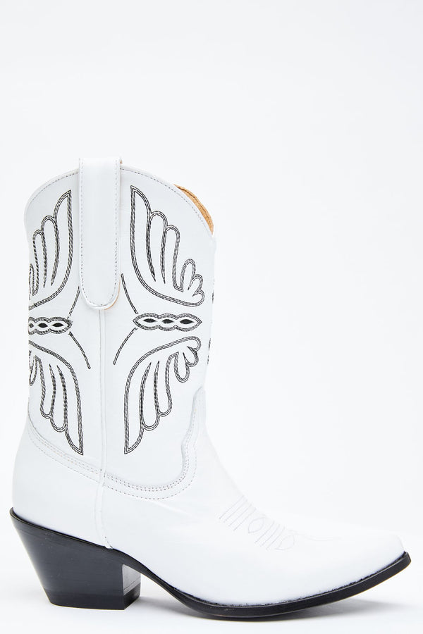 Ace White Western Boots - Round Toe - White