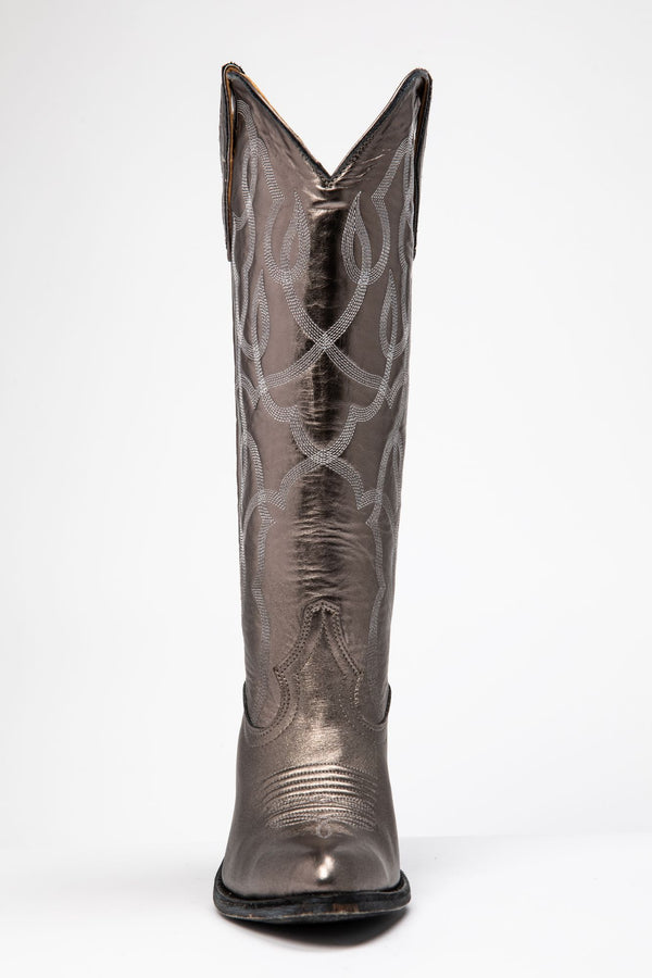 Revenge Western Boots - Round Toe - Silver