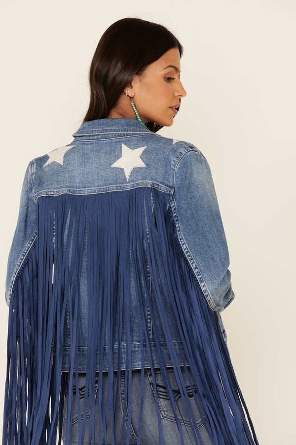 Idyllwind Women's Superstar Fringe Denim Jacket - Medium Blue