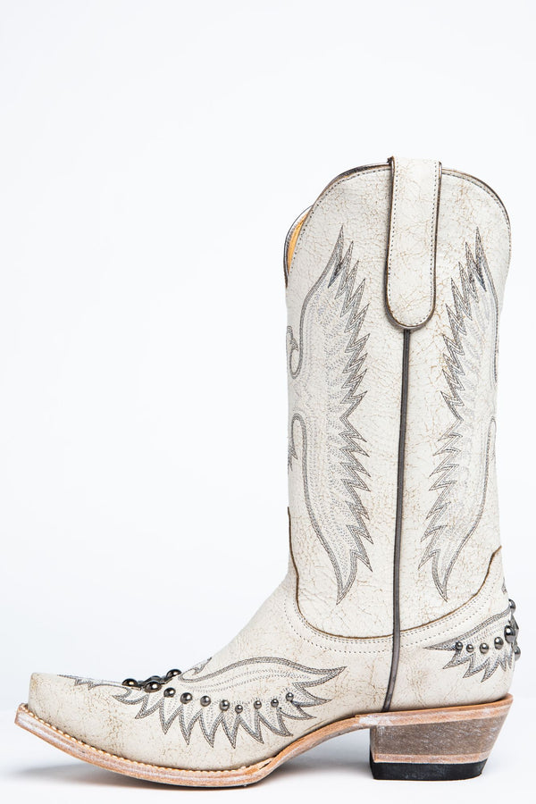 Trouble White Western Boots - Snip Toe - White