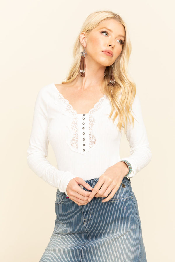 Cozytown Lace Henley - Ivory