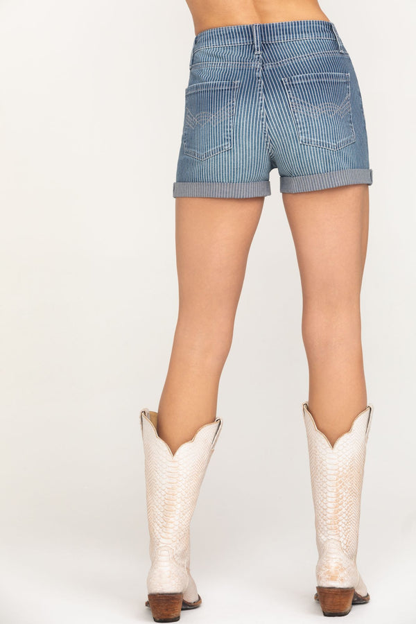 Railway High Rise Rolled Cuff Denim Shorts - Blue