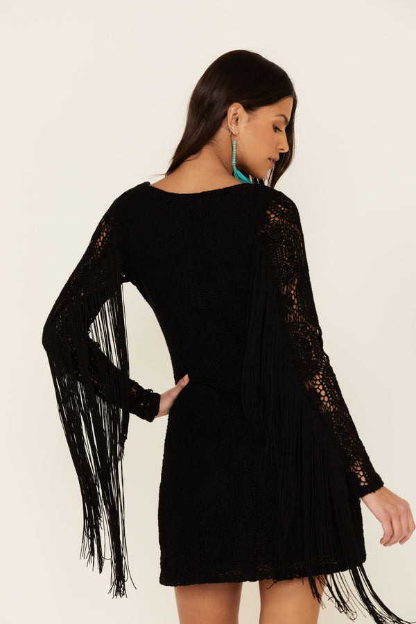 Thunder Road Fringe Crochet Dress - Black