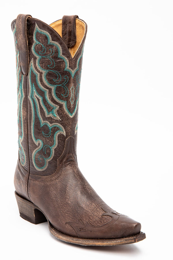 Roanoke Western Performance Boots - Snip Toe - Chocolate/turquoise