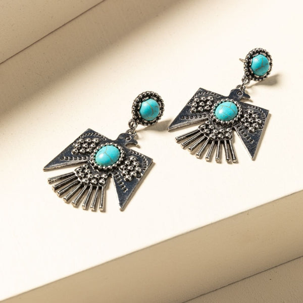 Turquoise Beaded Thunderbird Earrings - Silver