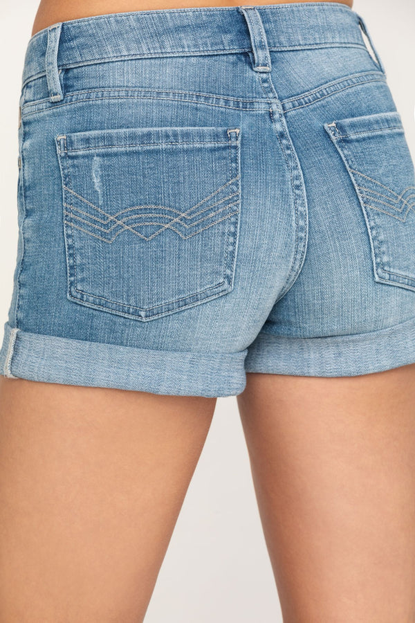 Southern Classic Mid-Rise Rolled Cuff Denim Shorts - Blue