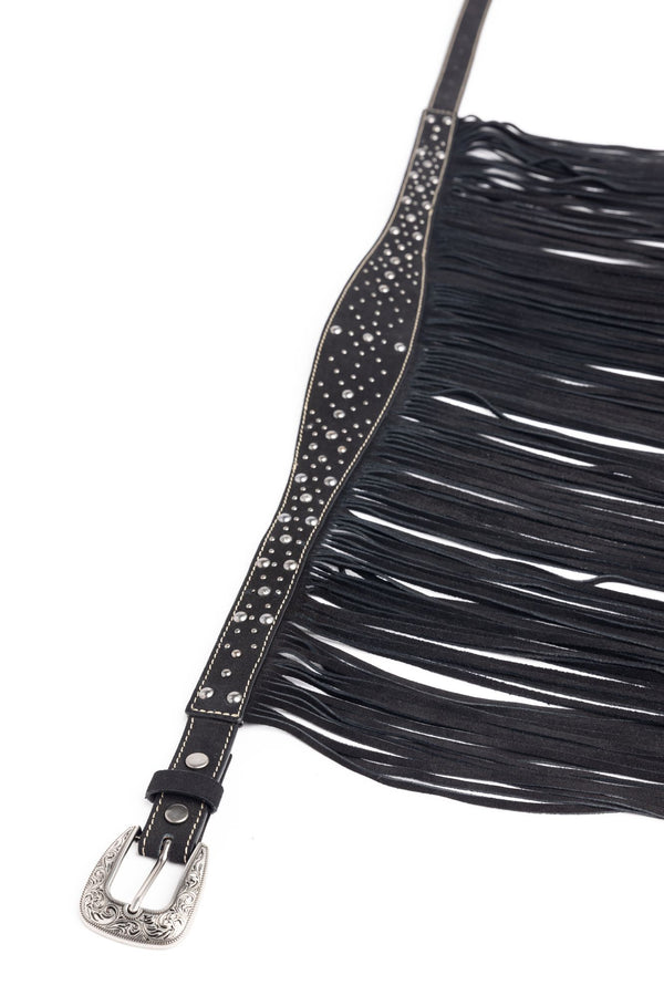 The Way You Walk Fringe Belt - Black