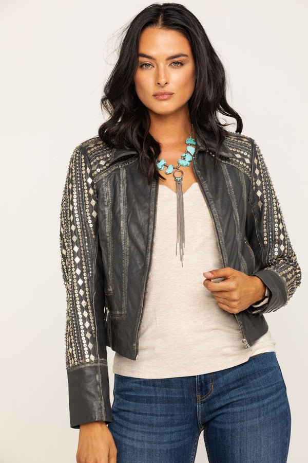 Center Stage Leather Jacket - Grey