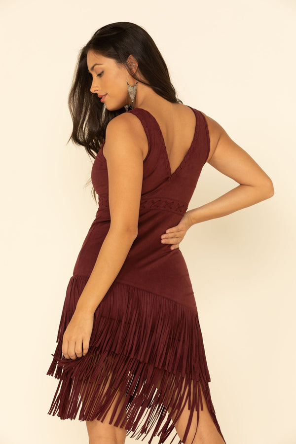 Rocker Fringe Dress - Burgundy