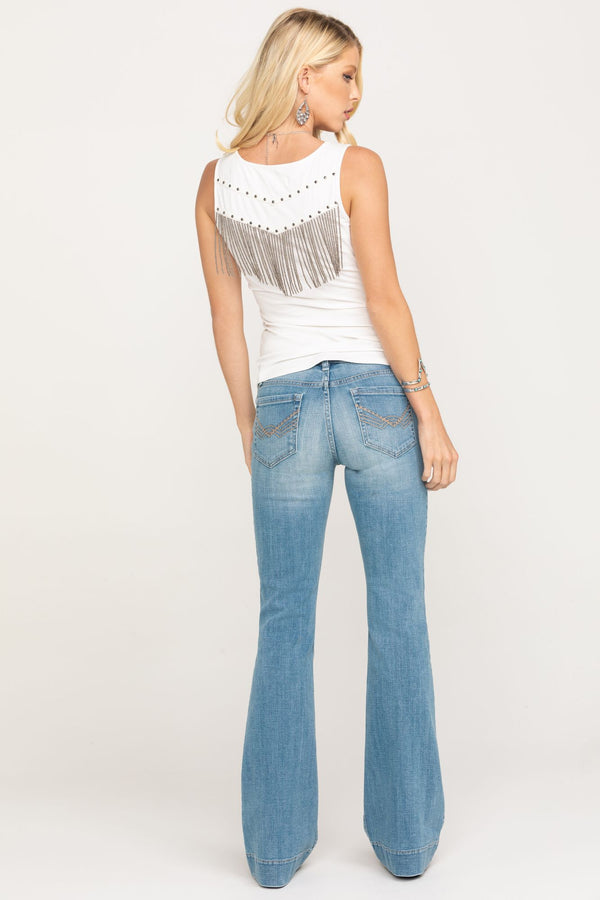 Cloud Walkin' Love Sick Flare Jeans - Blue