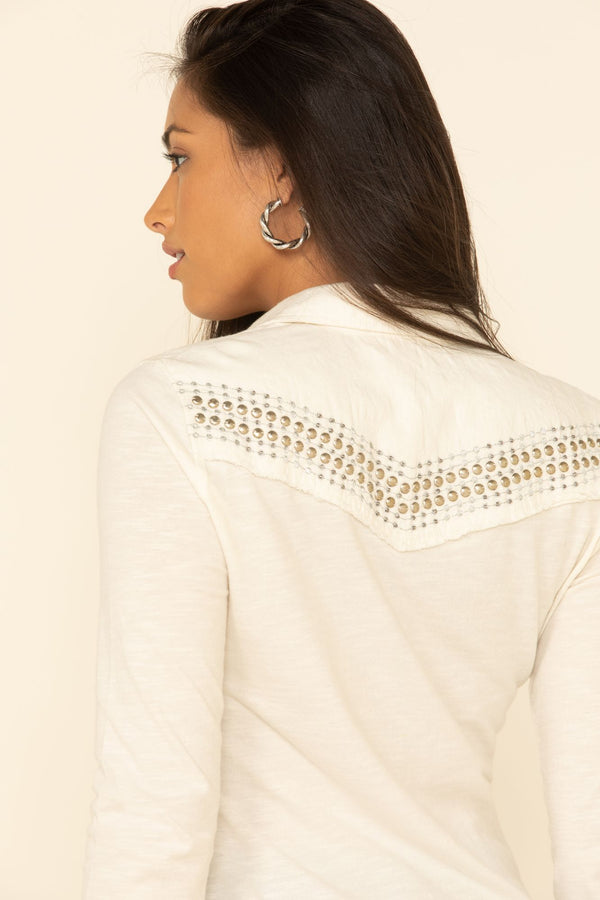Snappy Western Button Top - Ivory