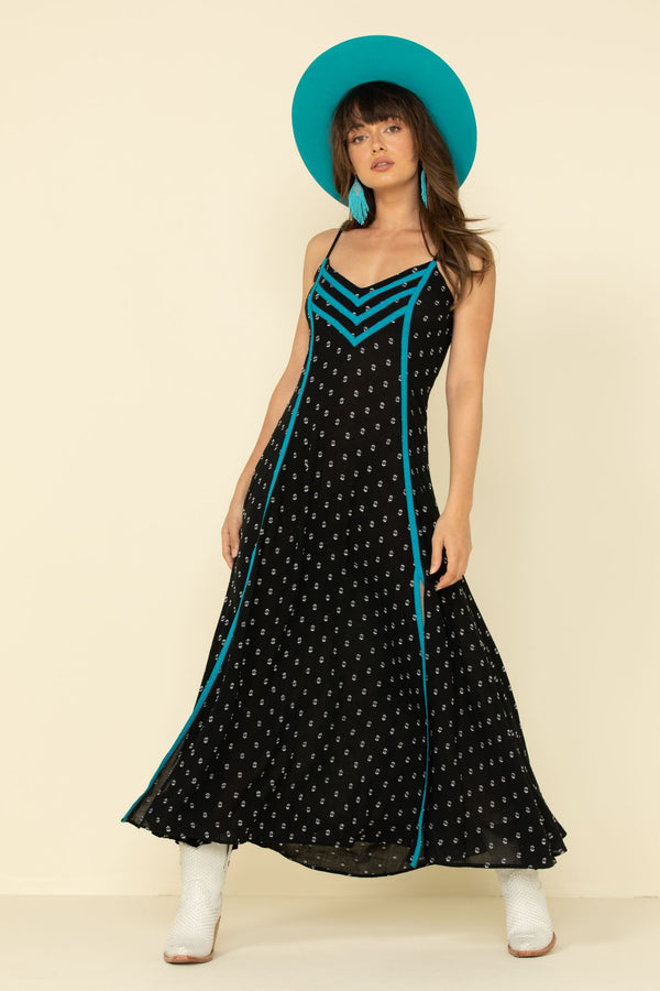 Bluegrass Maxi Dress - Black/turquoise