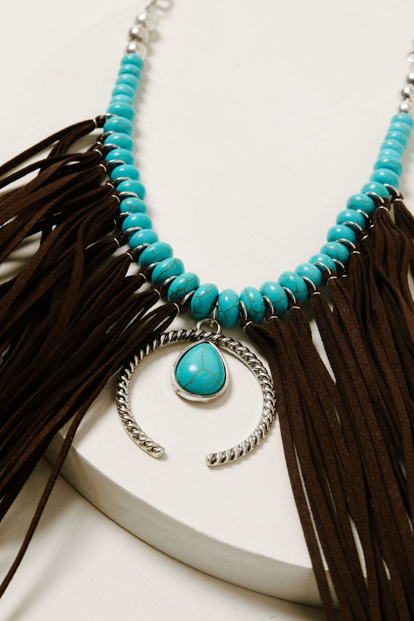 Fringe Me Down Turquoise Necklace - Silver