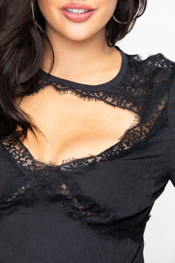 Whiskey Neat Lace Top - Black