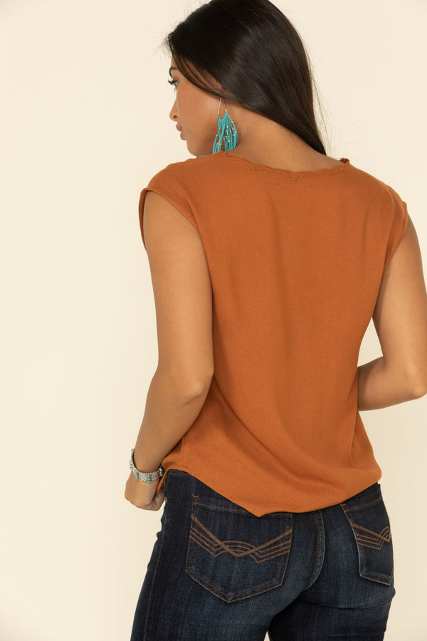 Meadow Lace V-Neck Top - Brown