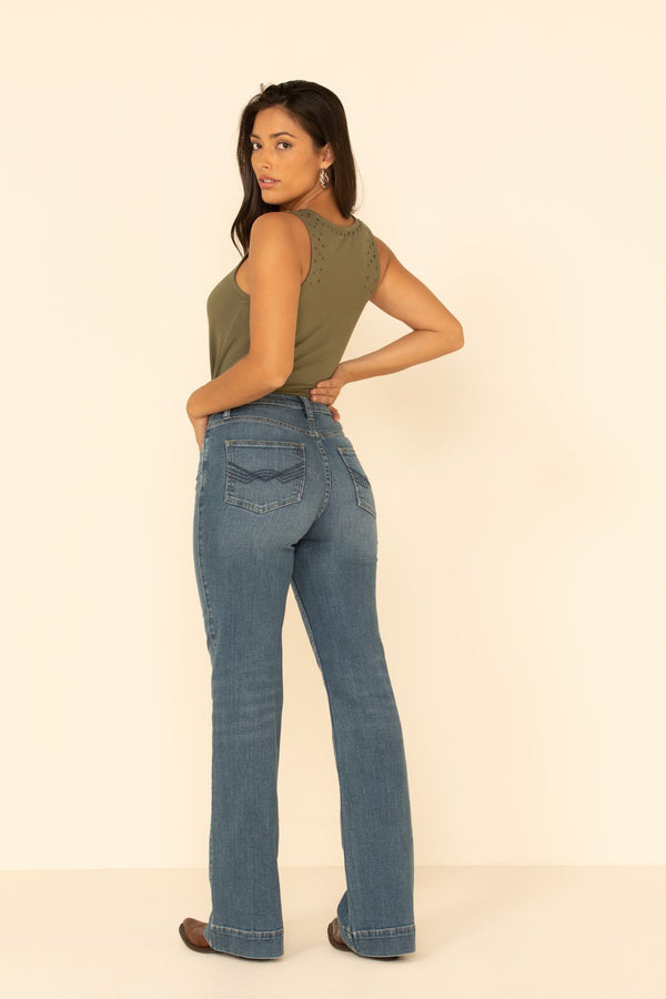 Free Range High Risin' Button Front Trouser Jeans - Light Blue