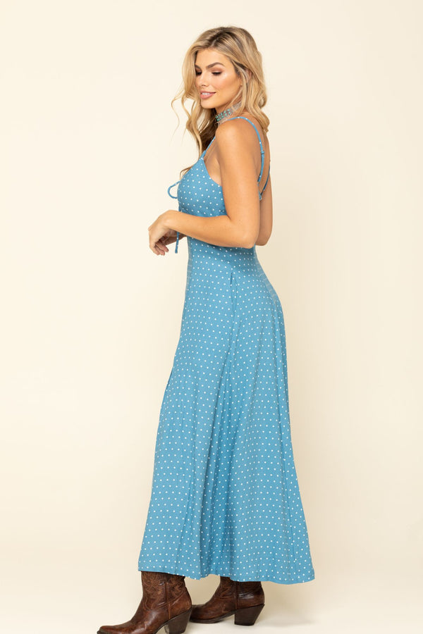 Down Home Polka Dot Maxi Dress - Blue