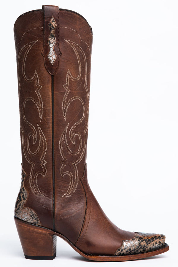 Scaled-Up Western Boots - Snip Toe - Brown