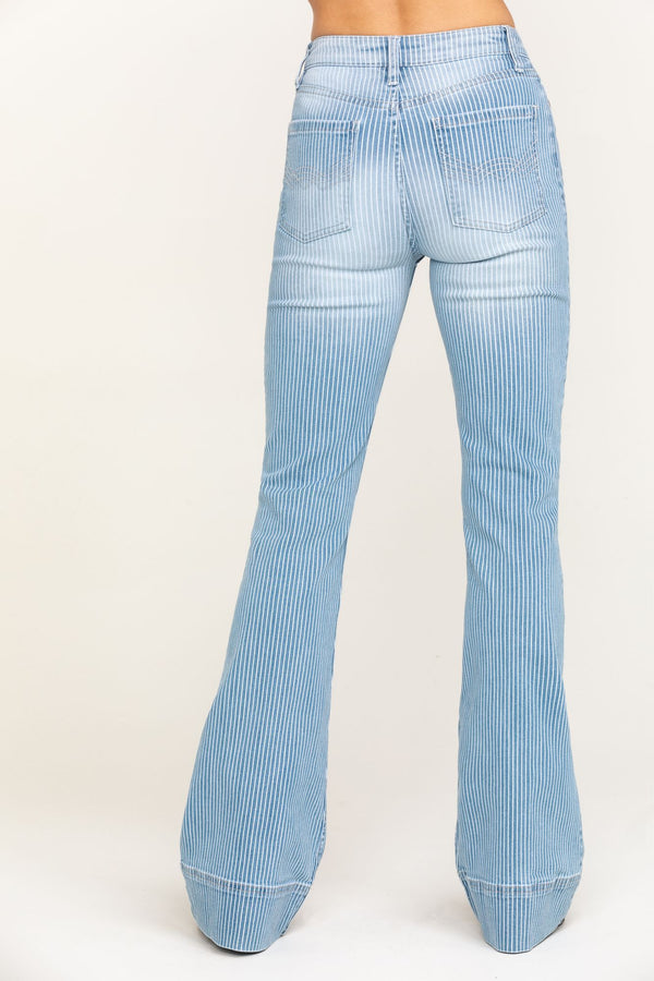 Crazy Train Striped High Rise Fit & Flare Jeans - Light Blue