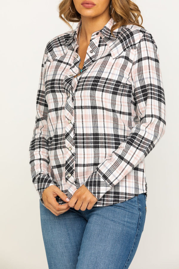 Stay Awhile Pink Flannel Shirt - Cream